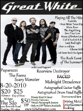 GREAT WHITE featuring Paparazzi / The Feens / Scary Monster / RVD - Rearview Destroyer / Midnight Decadence and FACED
