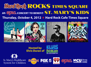 Hard Rock Rocks Times Square for St. Marys Kid's featuring Karmin, Cher Lloyd & Chris Rene