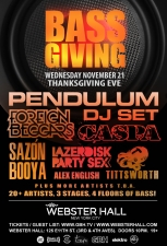 BASS GIVING THANKSGIVING EVE featuring Pendulum DJ SET / Caspa / Foreign Beggars / Tittsworth / Sazon Booya / Lazerdisk Party Sex / Alex English