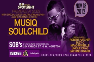 R&B Spotlight featuring Musiq Soulchild with special guests ROBERT HATCHER, SUZY Q, MAAD MOISELLE, UNIQUE ZAYAS & GAETANO DINARDI