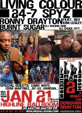 The Million Man Mosh II: A Benefit for Donovan Drayton featuring Living Colour , 24-7 Spyz , Burnt Sugar The Arkestra Chamber , Nona Hendryx &amp; Ronny Drayton ft. Rev. Kim Lesley + Legendary NYC DJ's: Rockin' Rob &amp; Chuck City