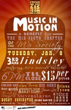 Music In Motion : a Benefit for the Mid-South Chapter of the MS Society featuring Bucky Covington, Jesse Lee, Bridgette Tatum, Danny Myrick, Adley Stump, Stevens Layne, Briana Tyson, Lisa Torres, Sam Hatmaker, Colby Dee, Sid Yochim Band, The Reverse Cowgirls