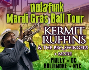 Nolafunk Mardi Gras Ball featuring Kermit Ruffins & the Barbecue Swingers w/ The Stooges Brass Band & The Main Squeeze