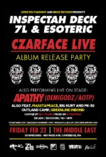 CZARFACE (Inspectah Deck of Wu Tang Clan and 7L & Esoteric) featuring Album Release Party Feat: Green Line Inbound , Apathy