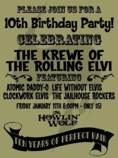 The Krewe of Rolling Elvi 10th Anniversary featuring Atomic Daddy-O, Live Without Elvis, Clockwork Elvis, and The Jailhouse Rockers