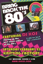 Bring Back The 80's! Video Dance Party featuring DJ Kos