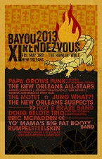 11th Annual Bayou Rendezvous featuring Papa Grows Funk with the Bonerama Horns, The New Orleans Allstars (Johnny Vidacovich, Ivan Neville, Theresa Andersson, Tony Hall and Anders Osborne), The New Orleans Suspects,, The Motet playing