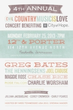 CountryMusicIsLove Concert benefiting City of Hope featuring Greg Bates, Joel Crouse, Rose Falcon, The Henningsens, Chase Rice, Maggie Rose and Charlie Worsham with opening acts Jillian Jacqueline, Corey Crowder and Carly Pearce