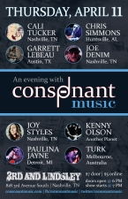 An Evening With Consonant Music featuring Cali Tucker, Chris Simmons, Garrett LeBeau, Joe Denim, Joy Styles, Kenny Olson, Paulina Jayne, Turk