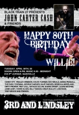 BMI and Black Train 27 present John Carter Cash plus Friends, Guests, and All-Star band, (in honor of Willie Nelson's 80th birthday)