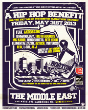 A Hip Hop Benefit for the Victims of the Boston Marathon featuring Akrobatik, Termanology & more.