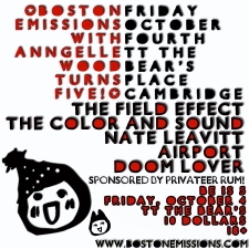 Boston Emissions with Anngelle Wood Turns 5 featuring The Field Effect, The Color and Sound, Nate Leavitt, Airport, Doom Lover