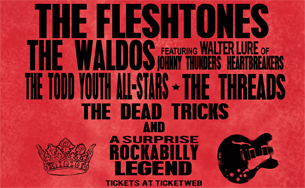 The Fleshtones and The Waldos (featuring Walter Lure of Johnny Thunder's Heartbreakers) with The Todd Youth All-Stars plus The Threads, The Dead Trick and a surprise rockabilly LEGEND