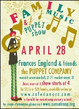 A Benefit for The Sunset Coop Nursery School featuring Frances England & Friends and The Puppet Company
