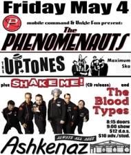 The Phenomenauts and The Uptones plus Shake Me! and The Blood Types