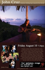 Plenty of tickets still avail at venue/ John Cruz, Grammy winning singer-songwriter from Hawaii with special guest Chris Lind