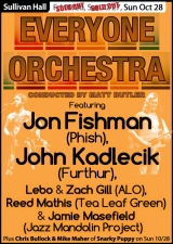 The Everyone Orchestra featuring Jon Fishman (Phish), John Kadlecik (Furthur), Lebo & Zach Gill (ALO), Reed Mathis (Tea Leaf Green) and Jamie Masefield (Jazz Mandolin Proj) plus Chris Bullock & Mike Maher of Snarky Puppy conducted by Matt Butler