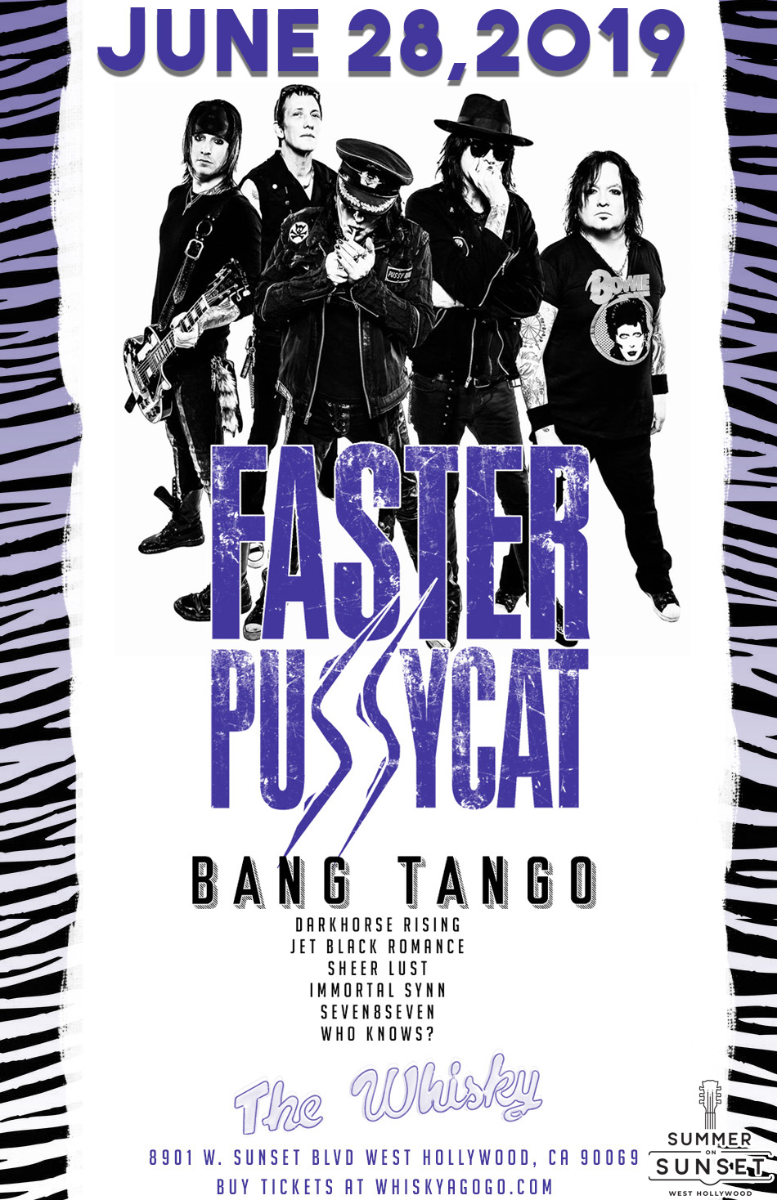 Faster Pussycat, Bang Tango, Darkhorse Rising, Jet Black Romance, Sheer Lust, Immortal Synn, Seven8Seven, Who Knows?