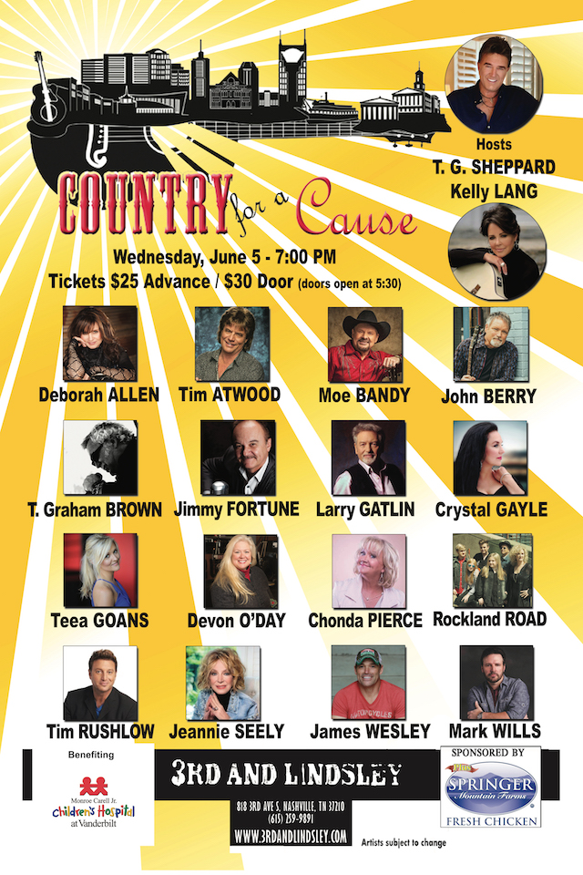 SOLD OUT) Country For A Cause Hosted by T G  Sheppard
