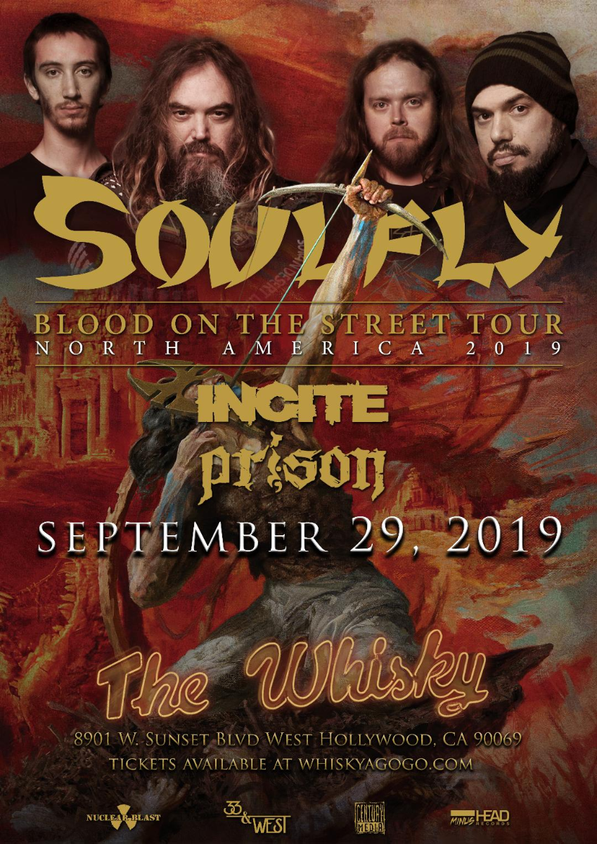 Soulfly, Incite, Prison, Captor of Sin, Pandemic Unleashed, Discarnate Motions