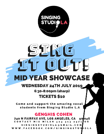 Singing Studio L.A Sing it out! Mid year showcase