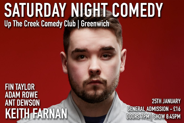 Saturday Night Comedy at Up The Creek Sat 25 Jan