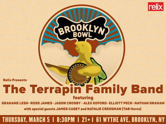 More Info for The Terrapin Family Band ft. Grahame Lesh, Ross James, Jason Crosby, Alex Koford, Elliott Peck, Nathan Graham + Natalie Cressman + James Casey (TAB Horns)