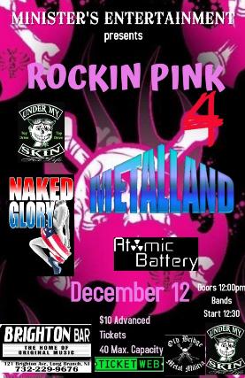 Metalland , Naked Glory at The Brighton Bar