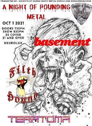 Basement, Filth Hound, Terratoma at Neurolux Lounge