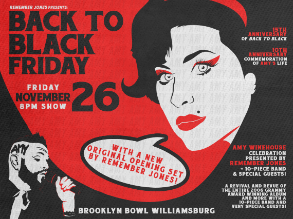 More Info for BACK TO BLACK FRIDAY: Amy Winehouse Celebration presented by Remember Jones + 10-piece band & special guests!